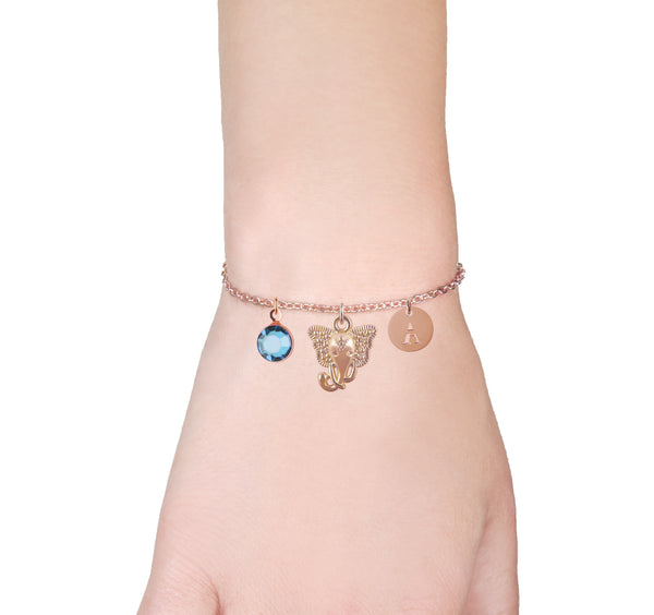 elephant rose gold bracelet with birthstone and initial - elephant jewellery | Statement Made Jewellery - Statement Made Jewellery