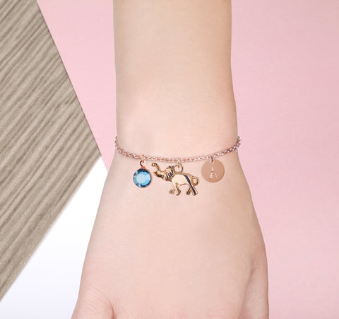 elephant rose gold bracelet with birthstone and initial - elephant jewellery | Statement Made Jewellery
