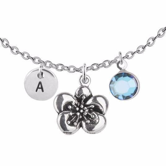 Personalised 3D flower charm and round initial with birthstone necklace - Statement Made Jewellery