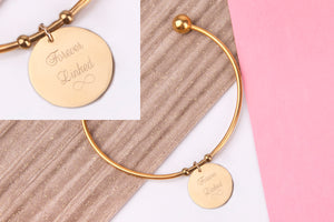 You're my sister you're my star gold engraved message personalised Bangle - Statement Made Jewellery
