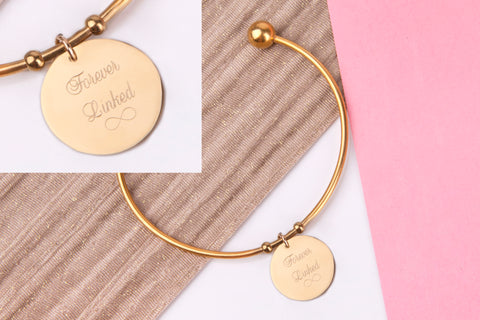 Forever linked infinity gold engraved message personalised Bangle - Statement Made Jewellery
