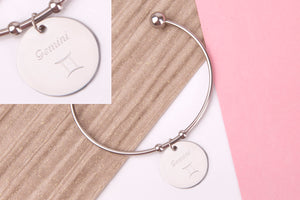 Gemini Stainless steel engraved message personalised Bangle - Statement Made Jewellery