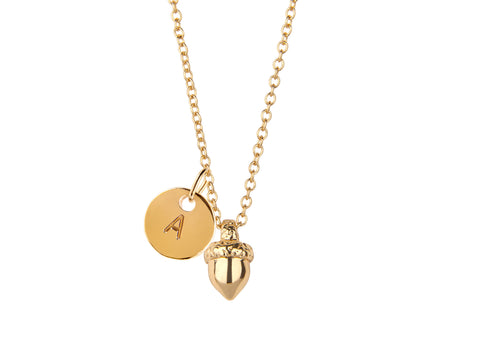 Gold autumnal acorn and round initial necklace - Statement Made Jewellery