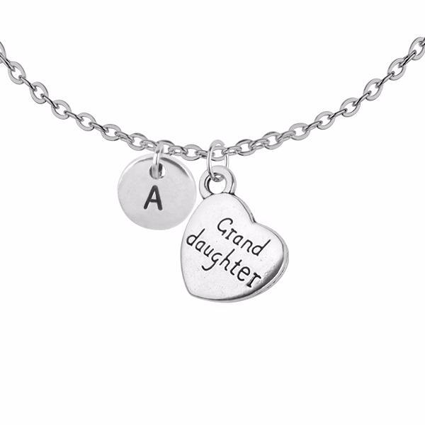 Personalised granddaughter charm with initial handmade customised necklace