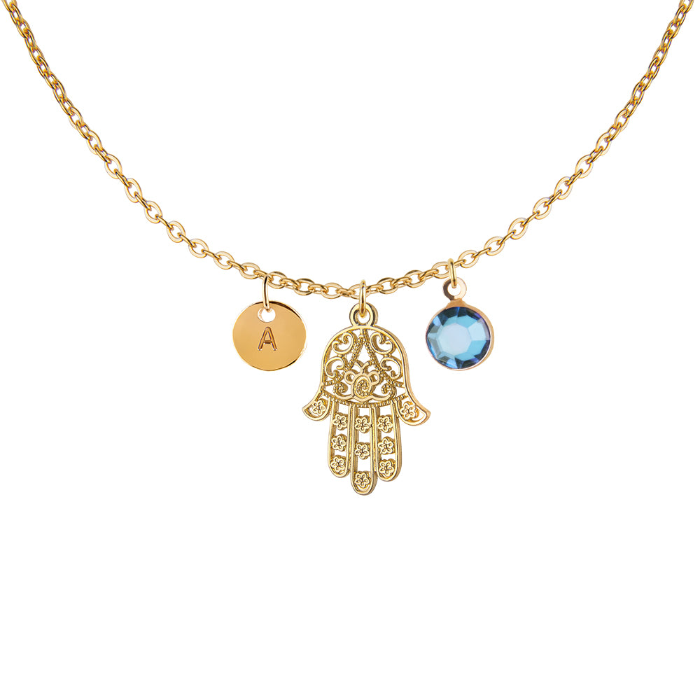 Gold hamsa charm and round initial and birthday birthstone necklace - Statement Made Jewellery