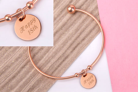 happy 18th 18th birthday gift bangle rose gold engraved message personalised Bangle - Statement Made Jewellery