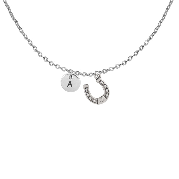 Personalised horseshoe charm with initial handmade customised necklace - Statement Made Jewellery