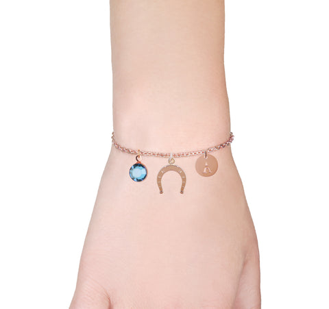 Image of Infinity Heart rose gold bracelet with birthstone and initial - Infinity jewellery | Statement Made Jewellery - Statement Made Jewellery