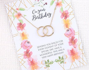 Personalised message card birthday gift with necklace