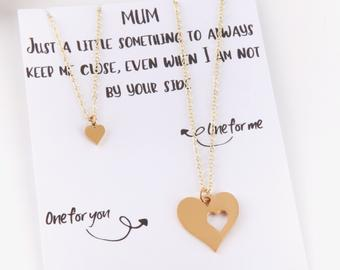 Personalised letterbox gift message card with two heart necklaces for mum