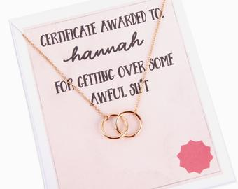 Personalised humorous message name card award with necklace for best friend