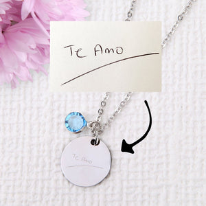 Actual handwriting signature drawing necklace personalised unique necklace uk