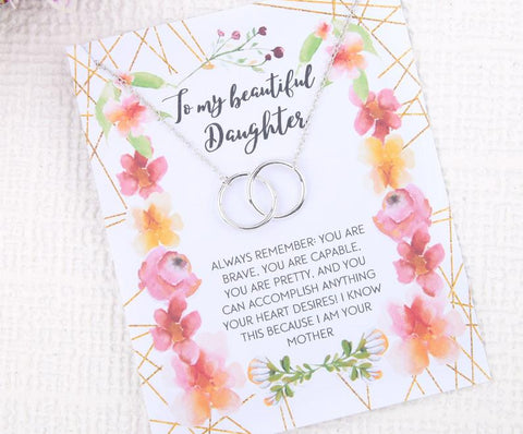 Personalised message card for my beautiful daughter with necklace