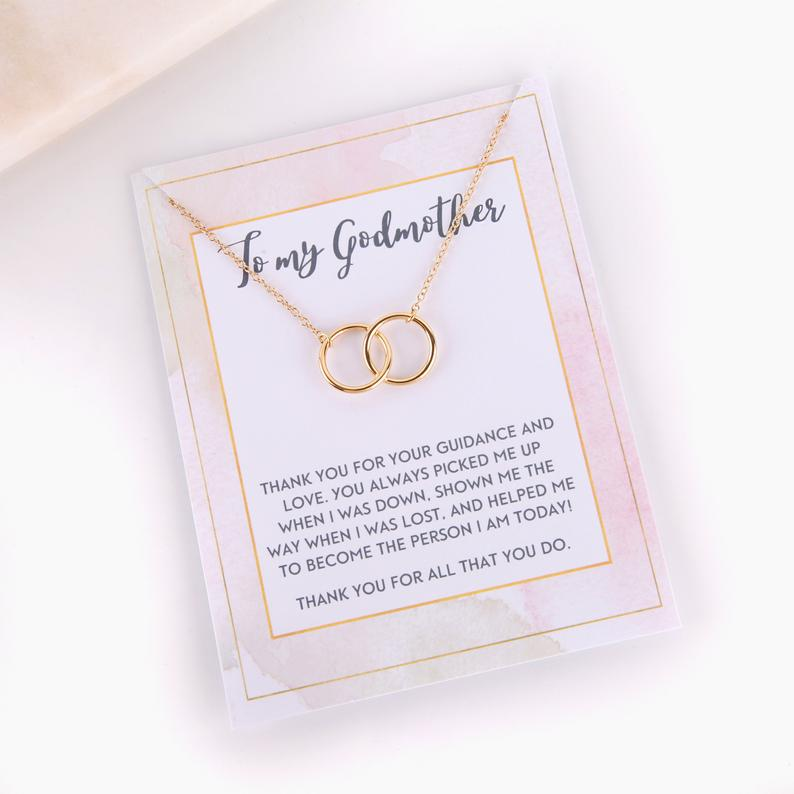 Personalised message card  godmother proposal with necklace