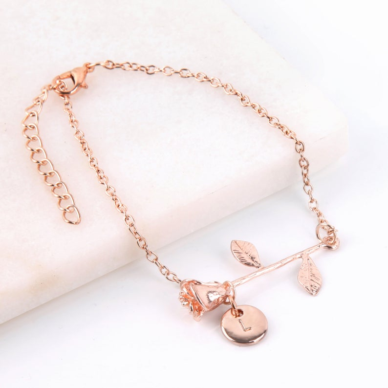 Rose gold flower bracelet for flower girl