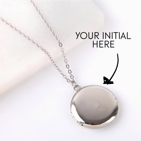 Letterbox gift engraved silver locket personalised initial necklace