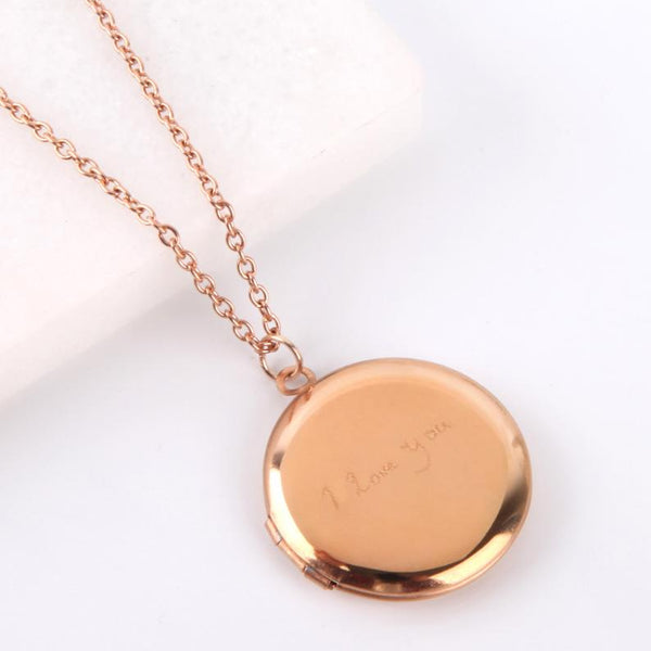 Letterbox gift engraved rose gold locket personalised signature necklace