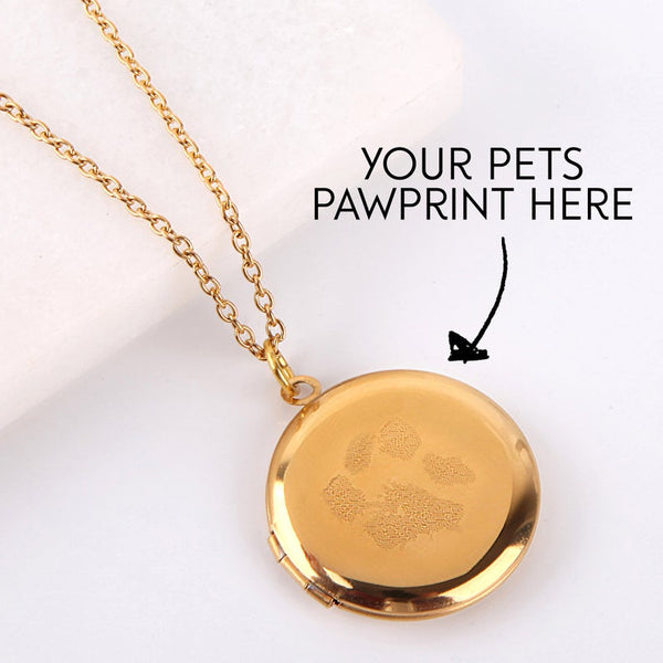 Letterbox gift paw print engraved personalised necklace