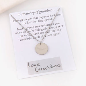 Personalised handwriting jewellery and message card gift
