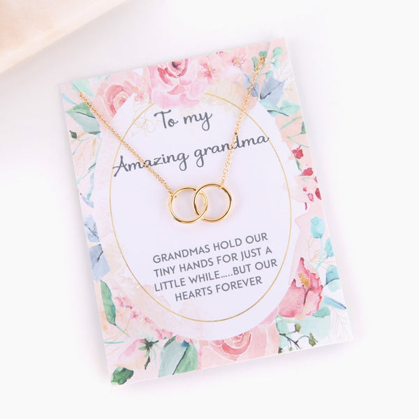 Personalised message card with necklace for Grandma.