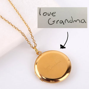 Letterbox gift engraved gold locket personalised necklace love grandma