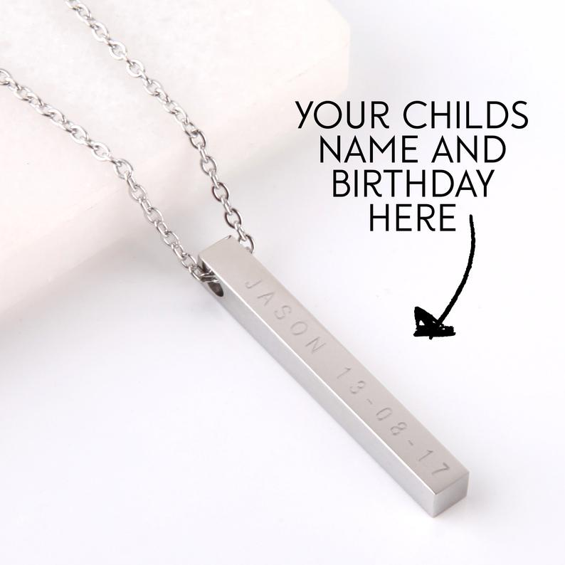 Letterbox gift personalised engraved bar necklace