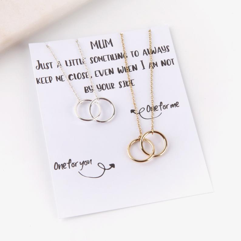Personalised letterbox gift message name card with two necklaces for mum