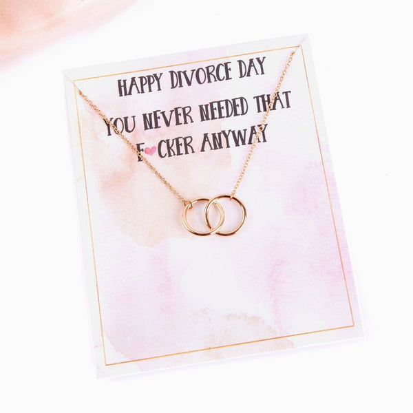Humorous divorce gift message card with necklace