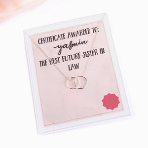 Personalised humorous message name card award with necklace for future sister in law.