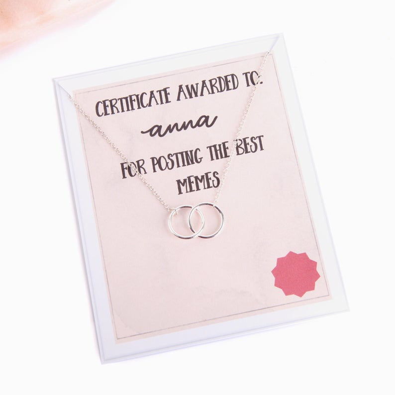 Personalised message card meme award with necklace for friend