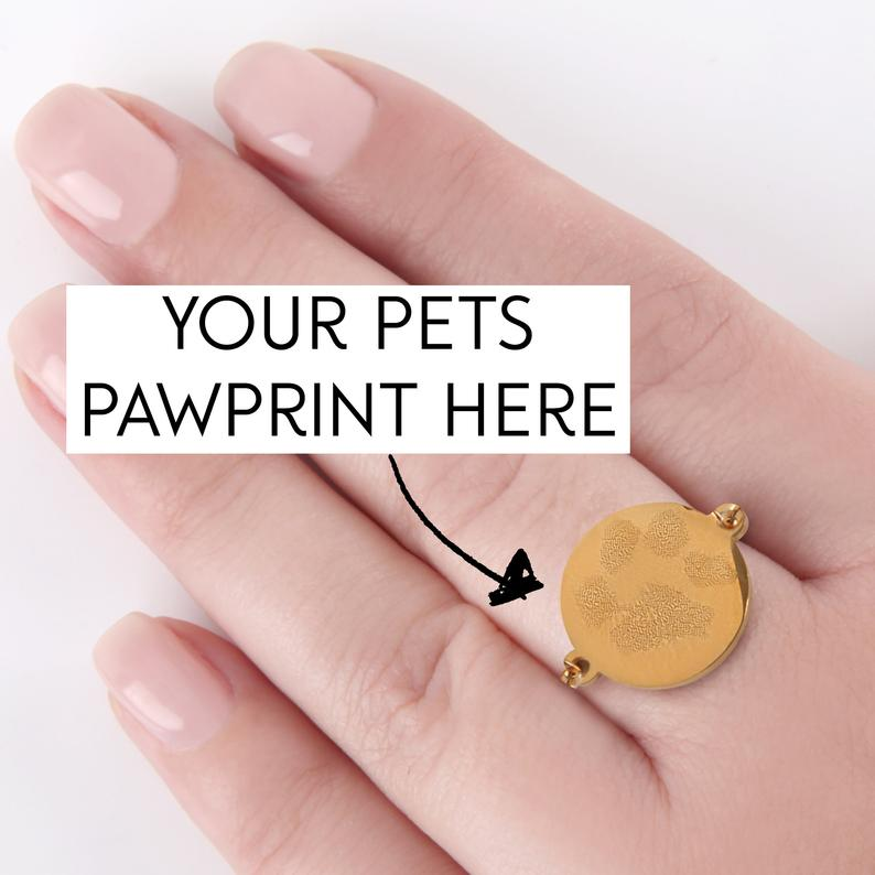 Paw print personalised engraved adjustable ring