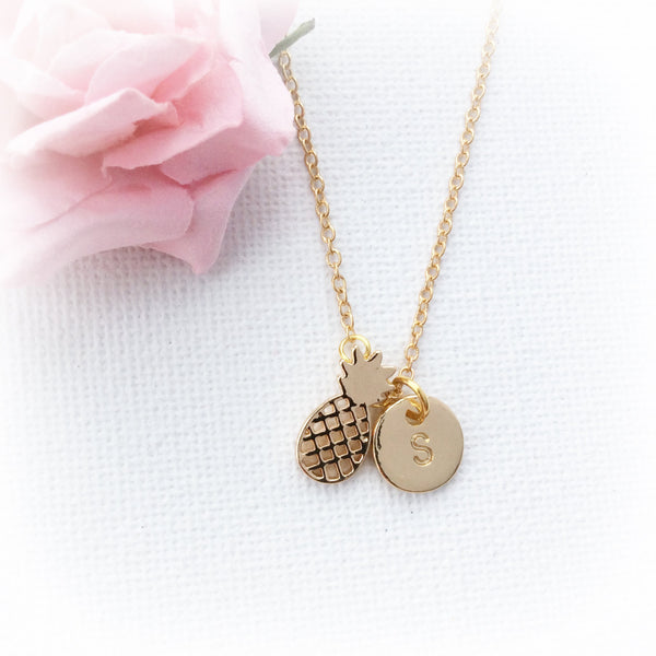 Gold pineapple necklace, initial charm custom necklace - Statement Made Jewellery