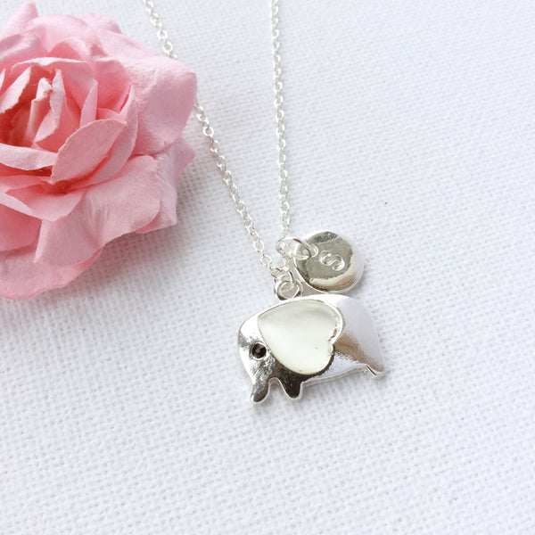 Silver elephant pendant necklace with initial custom necklace - Statement Made Jewellery