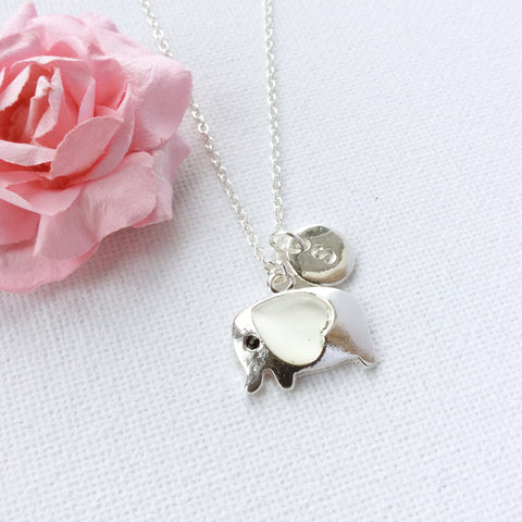 Image of Silver elephant necklace, initial charm custom necklace , Dress Necklaces - Statement Made Jewelry, Statement Made Jewellery  - 4