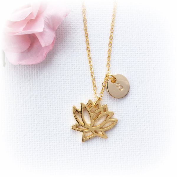 Gold Lotus Flower necklace, initial charm custom necklace , Dress Necklaces - Statement Made Jewelry, Statement Made Jewellery  - 1