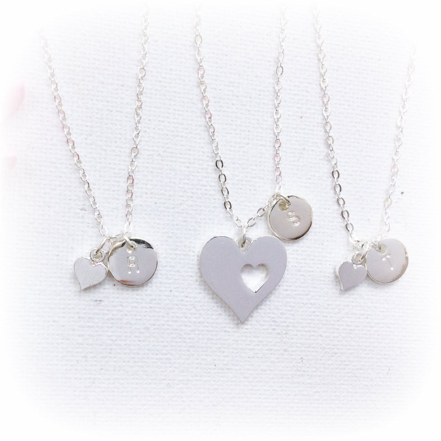 Silver heart Mother daughter jewelry, mother necklace, new mom gift, two heart cutout necklaces for mother and daughter,SFMDHNI1x2 , Jewelry - Statement Made Jewelry, Statement Made Jewellery  - 1
