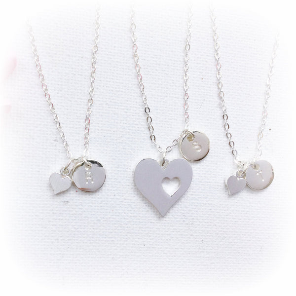 Silver heart Mother daughters initial necklace - Statement Made Jewellery