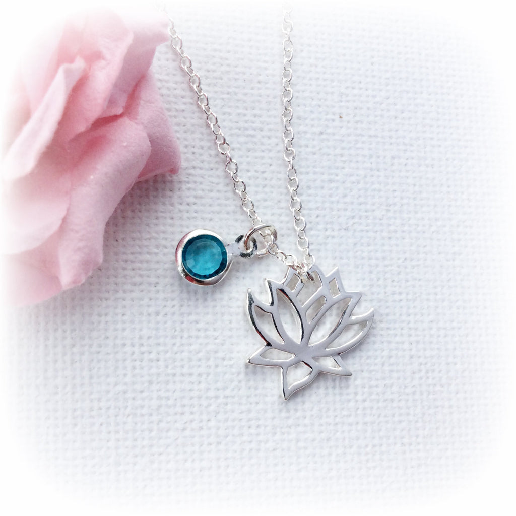 Silver Lotus Necklace Personalised Necklacebirthstone Necklace