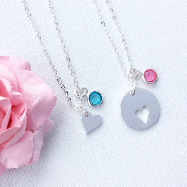 Mother and daughter necklace, Birthstone necklace, mum necklace, mother necklace, heart necklace,SFMDNB1 , Dress Necklaces - Statement Made Jewelry, Statement Made Jewellery  - 4