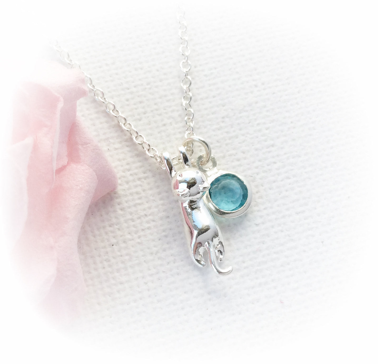 Silver cat necklace, birthstone charm custom necklace , Dress Necklaces - Statement Made Jewelry, Statement Made Jewellery  - 1