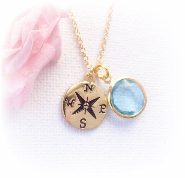 Gold compass with birthstone necklace - Statement Made Jewellery