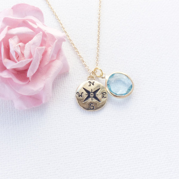 Gold Compass Necklace Personalized, Compass Initial Birthstone Necklace Gold Fill, Enjoy the Journey ,GFINCOM2 , Jewelry - Statement Made Jewelry, Statement Made Jewellery  - 3