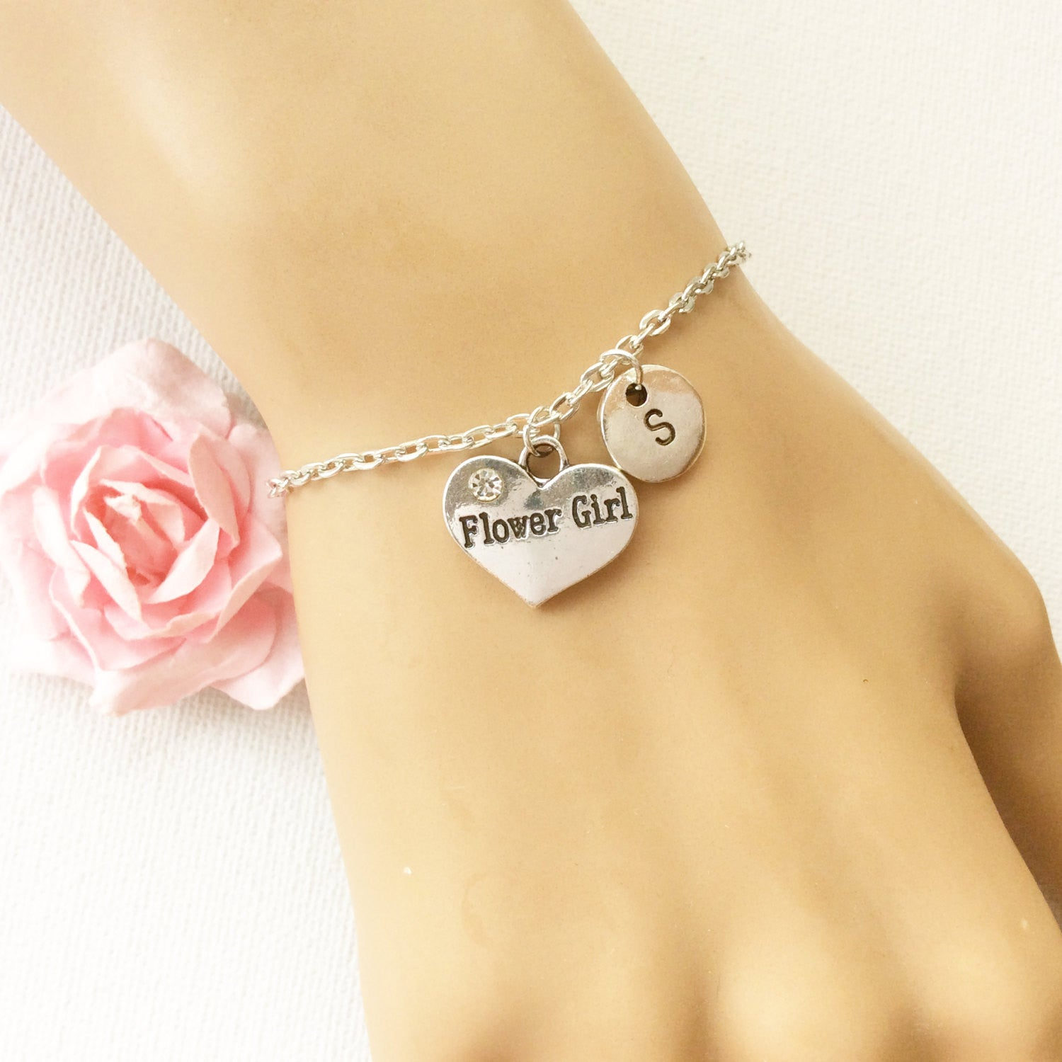 Silver flower girl bracelet, flower girl bracelet, flower girl jewellery, flower girl gift, wedding gift, bracelet for flower girl , Jewelry - Statement Made Jewelry, Statement Made Jewellery  - 1