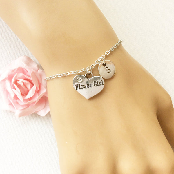 Silver flower girl bracelet, flower girl bracelet, flower girl jewellery, flower girl gift, wedding gift, bracelet for flower girl - Statement Made Jewellery