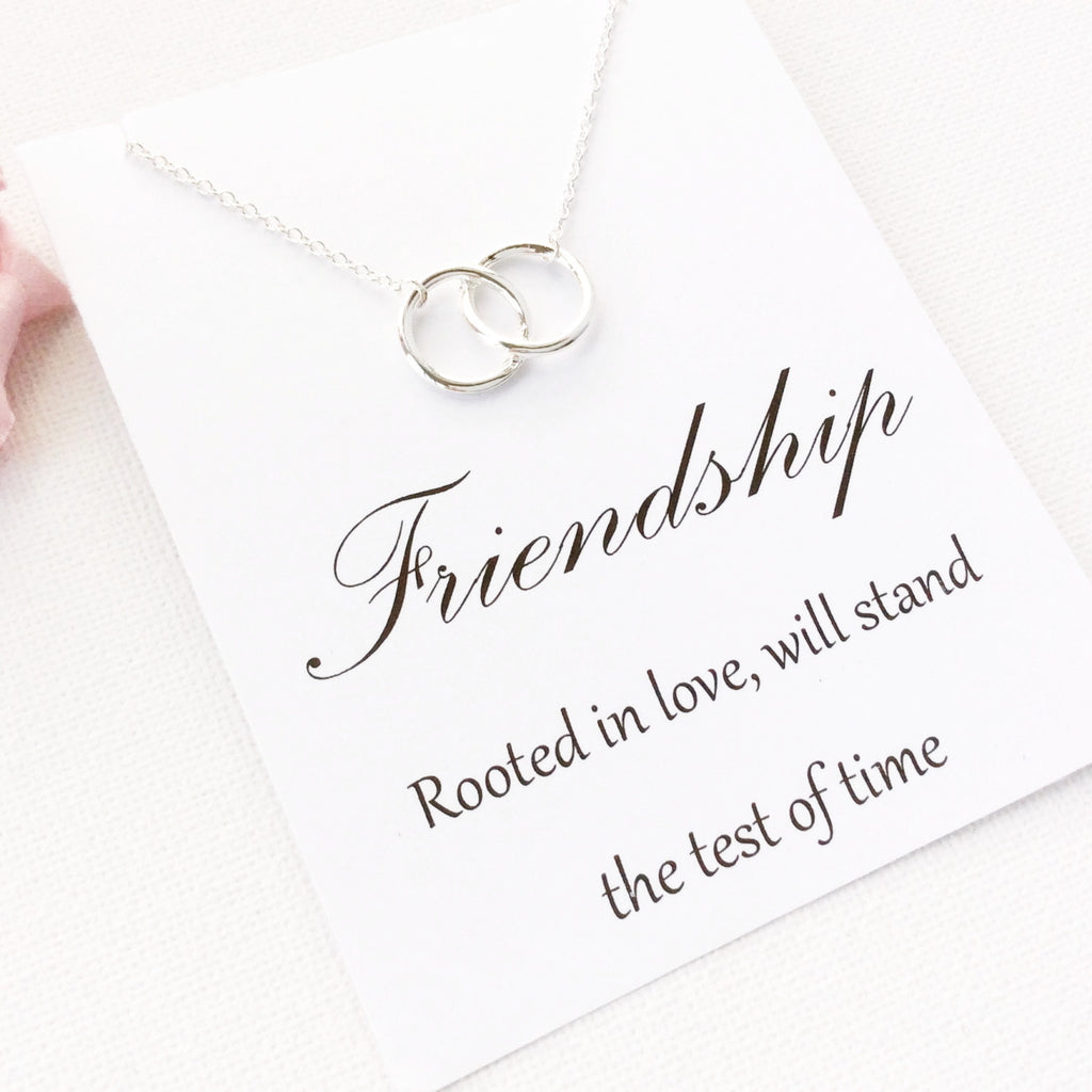 Silver entwined circles Necklace, friendship jewelry, Gift for friend, Birthday gift, Gift Idea, Thank you gift, message card jewellery , Jewelry - Statement Made Jewelry, Statement Made Jewellery  - 1