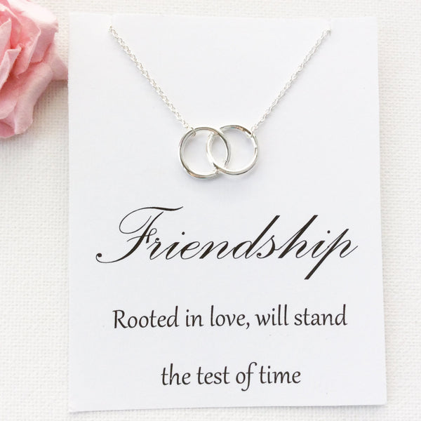 Silver entwined circles Necklace, friendship jewelry, Gift for friend, Birthday gift, Gift Idea, Thank you gift, message card jewellery , Jewelry - Statement Made Jewelry, Statement Made Jewellery  - 4