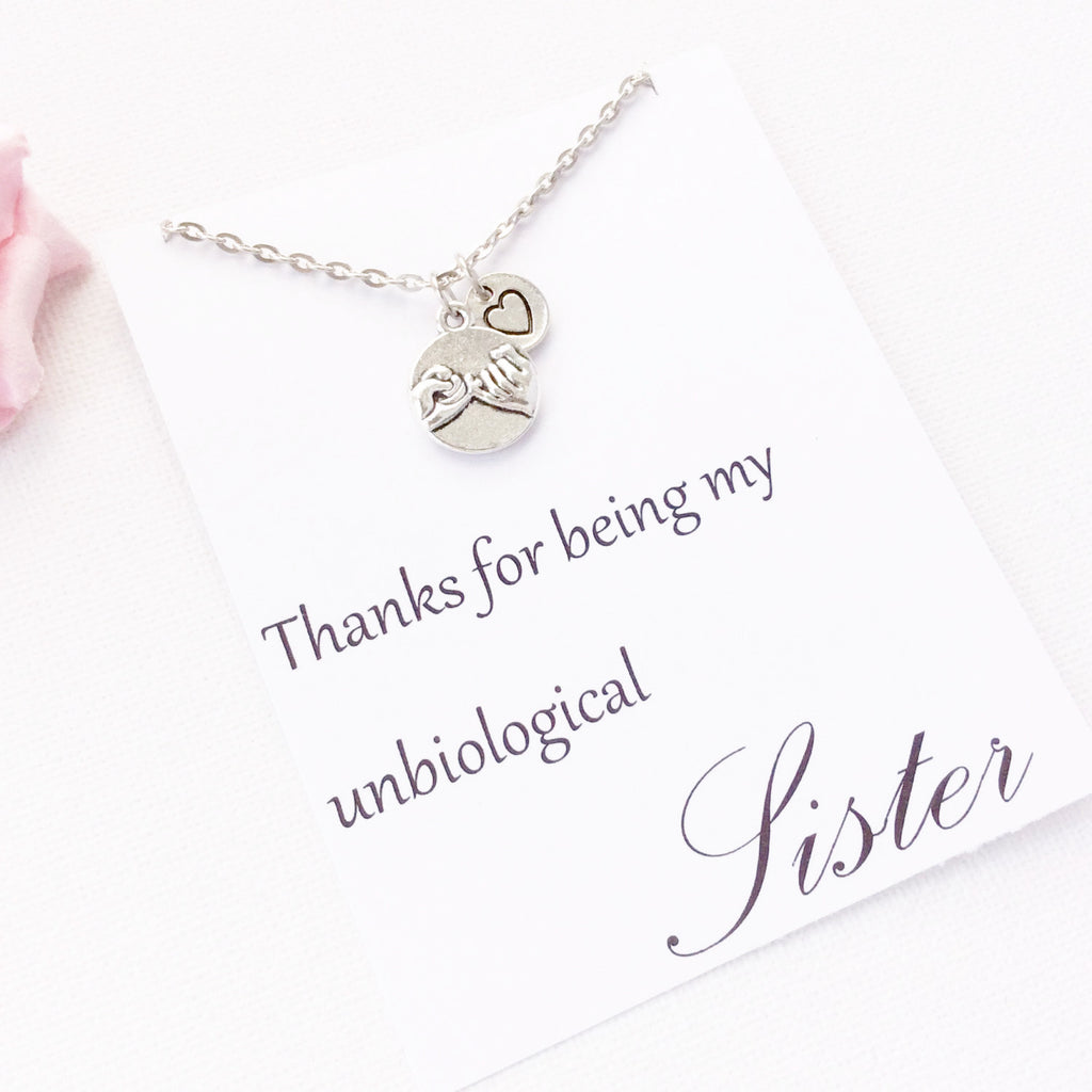 Thanks for being my unbiological sister message card gift sister necklace unbiological sister gift to sister sister pendant sister jewellery mozeypictures Gallery