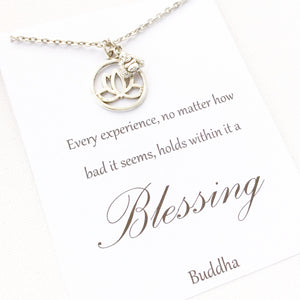 Every experience no matter how bad it seems hold within it a blessing message card necklace - Statement Made Jewellery