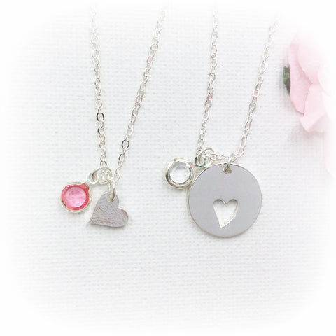 Mother and daughter round silver birthstone necklace - Statement Made Jewellery