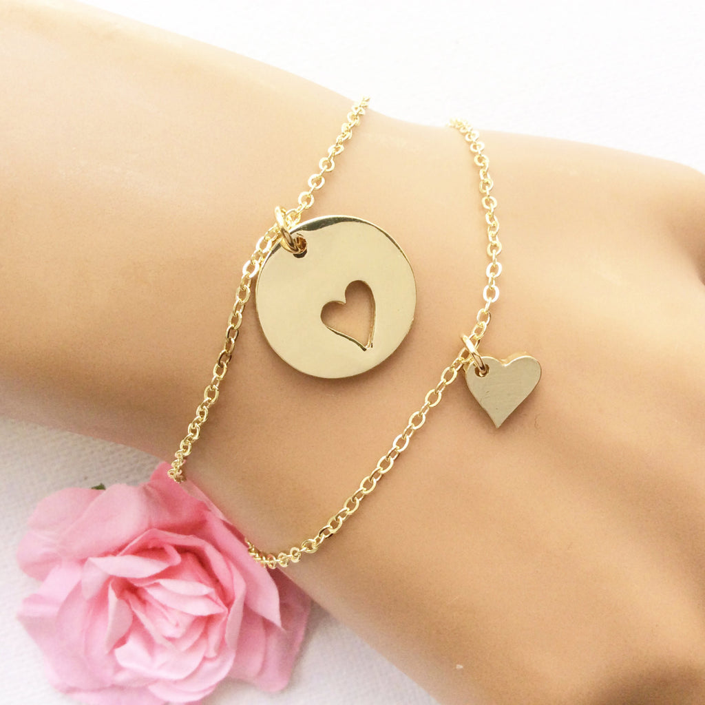 Mother daughter bracelets, gift for her, heart cutout charm bracelet for mother and daughter jewelry, GFMDHB1 , Jewelry - Statement Made Jewelry, Statement Made Jewellery  - 1